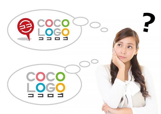 図形ロゴと文字ロゴについて考える女性